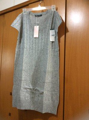 秋冬質感英國100%羊毛洋裝(30%喀什米爾70%美麗諾)可水洗不縮水短袖麻花編織長版(淺灰色)柔軟毛衣M 特低折扣