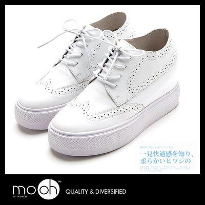 厚底休閒鞋 內增高球鞋 小白鞋 歐美時尚英倫真皮厚底運動鞋 mo.oh (歐美鞋款)