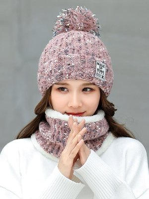 日和生活館 帽子女冬季加絨加厚保暖毛線帽冬天騎車防寒護耳時尚毛球針織帽女S686