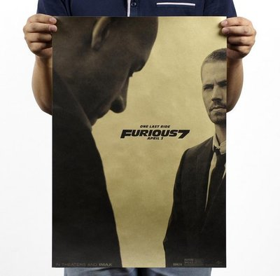 【貼貼屋】玩命關頭7 Fast & Furious 7 保羅沃克 懷舊復古 牛皮紙海報 壁貼 店面裝飾 284