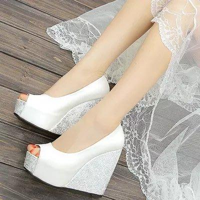 坡跟魚嘴涼鞋女12cm超高跟鞋厚底防水台夏季百搭內增高女式單鞋潮