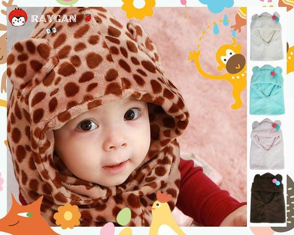 八號倉庫  限定 寶寶超柔毛絨豹紋連帽圍脖 雙球小耳朵護耳帽 多款可挑 【2F195B10
