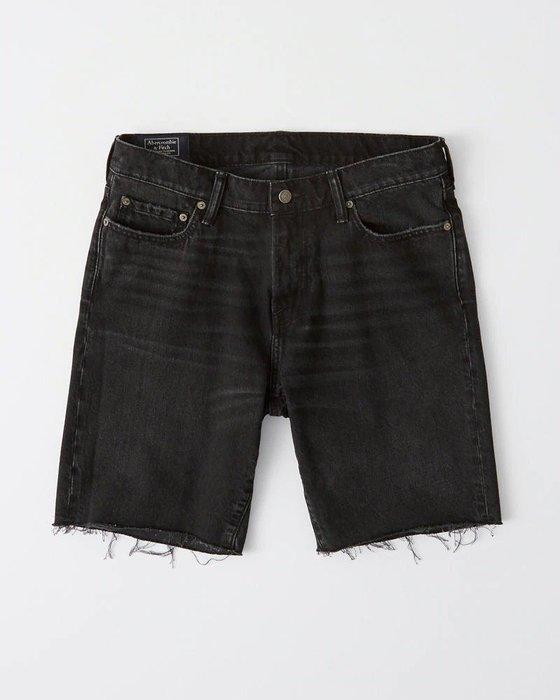 Maple麋鹿小舖 Abercrombie&Fitch * AF 黑色不修邊牛仔短褲 * ( 現貨26號 )