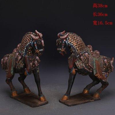 ㊣三顧茅廬㊣  唐三彩黑地彩繪描金提腿馬一對出土文物   古瓷器古玩古董復古收藏