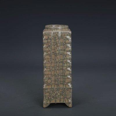 ㊣姥姥的寶藏㊣ 宋代哥窯金絲鐵線支釘四足琮式瓶  出土文物古瓷器 古玩古董收藏