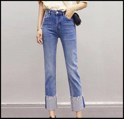 【Fashion歐洲站】淺藍色直筒牛仔褲女春 網紅卷邊闊腳煙管褲女九分褲