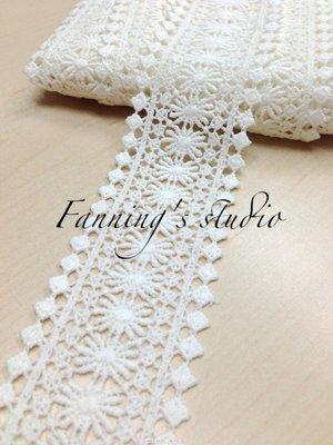 【芬妮卡Fanning服飾材料工坊】太陽花圖騰刺繡蕾絲 高5cm 1碼入