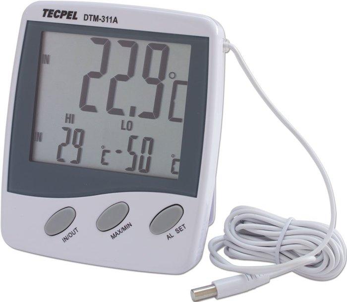 TECPEL 泰菱 》DTM-311A 雙點溫度計 雙顯示溫度計 溫度計 IN/OUT溫度計 螢幕警示與蜂鳴警報