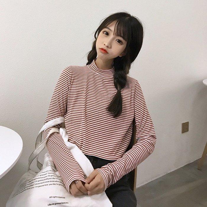 2019秋季新款韓版長袖t恤女半高領修身上衣條紋彈力內搭打底衫潮  衣品居 YPJ