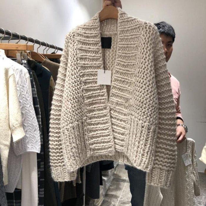 2018秋款新款韓版女裝V領純色粗線針織開衫鏤空寬鬆長袖毛衣外套