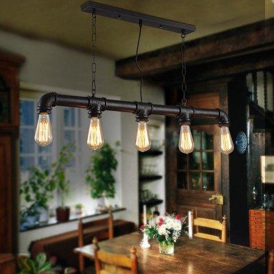 創意水管吊燈美式復古鐵藝工業風餐廳咖啡...