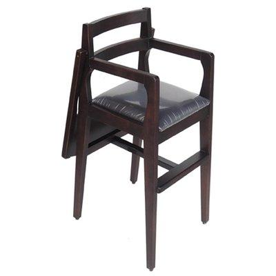 【在地人傢俱】19 簡單購-胡桃咖啡色皮固定式寶寶椅/兒童餐椅 LC871-15