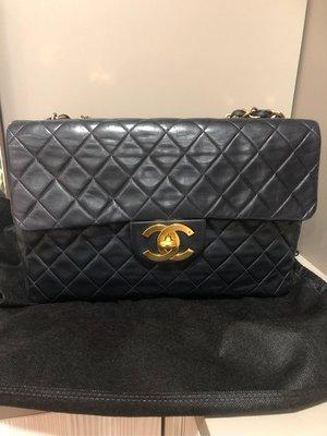 Chanel vintage 香奈兒黑色maxi Coco包 鏈帶包 肩背包 手拿包 斜背包