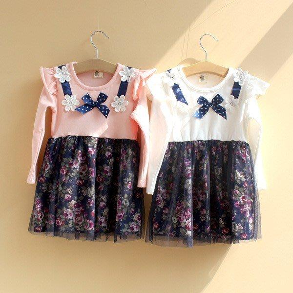 韓版《花朵蝴蝶結》甜美長袖洋裝 (J3-3)