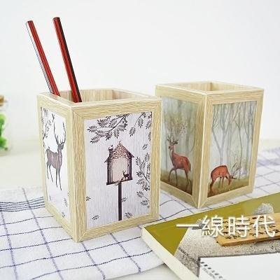 北歐手工木質簡約創意時尚筆筒小清新女生辦公桌面收納盒88折,