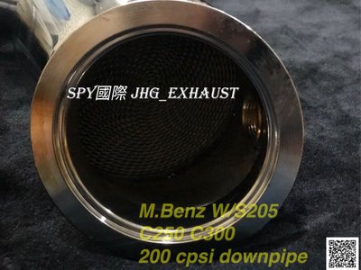 JHG_Exhaust Benz W205 200 cpsi 高流量 觸媒當派 downpipe