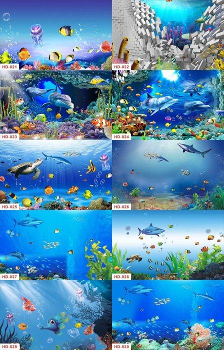 熱賣魚缸背景紙畫高清圖3d立體水族箱貼紙壁紙裝飾造景防水玻璃自粘#背景紙#高清#水族用品