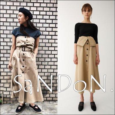 SaNDoN x『moussy』難分難捨系列 法式情調最正點設計兩種穿法排釦高腰合身洋裝+復古長裙 sly 180412