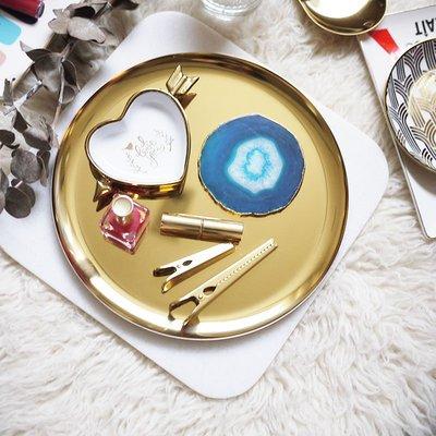 歐斯特館~W1962出口北歐風ins金色金屬SERVING TRAY大圓盤/茶盤/茶幾盤收納