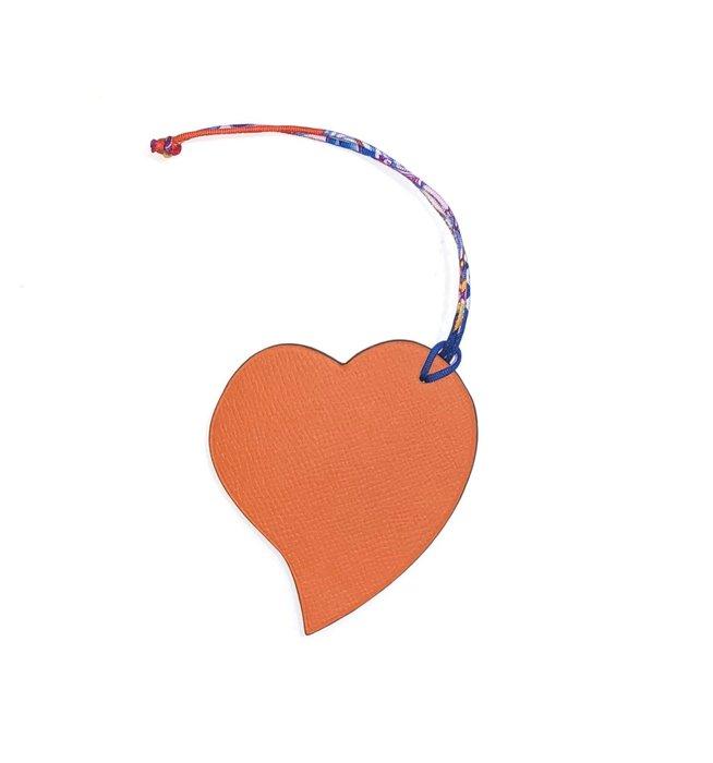全新Hermès愛馬仕Hermes愛心吊飾真品-現貨-雙面色,搭配包包掛飾