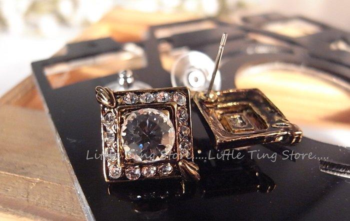 施華洛世奇SWAROVSKI 古銅金方塊菱形白水鑽 耳針貼耳耳環插耳洞 280 (2色)