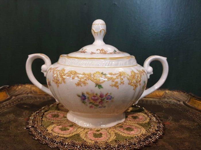 【卡卡頌 歐洲古董】法國古董老件  皇家黃  玫瑰   雙耳  瓷罐  糖罐  香料罐  p1883 ✬