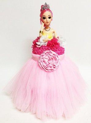 娃娃屋樂園~芭比蓬蓬紗裙尿布蛋糕 - 櫻花粉 每組1680元/生日蛋糕/彌月禮滿月禮週歲禮