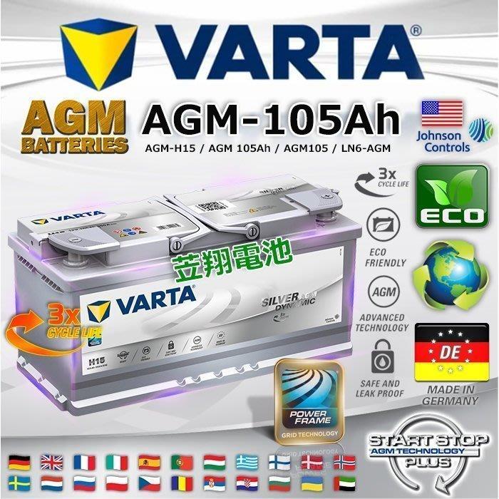 《鋐瑞電池》DIY自取交換價 VARTA H15 AGM START-STOP 啟停系統 12V-105AH Q7 A6