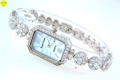 @(六四三精品)@ROYAL(真品)爪鑲鑽錶.長方型錶殼..爪鑲晶鑽錶帶.18K白金式