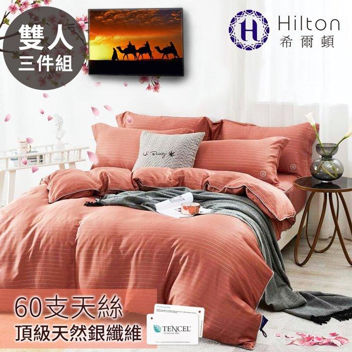 【Hilton希爾頓】仙境系列頂級60支紗純100%天絲銀纖維床包三件套(雙人)-咖啡(B0888-CM)