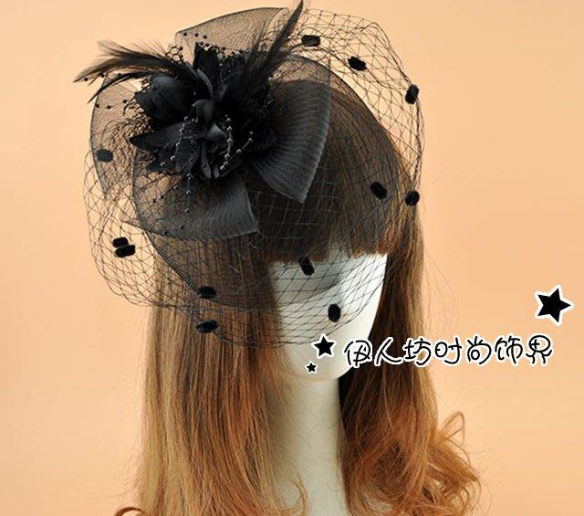 定制 歐美復古手工花朵新娘結婚網紗頭花發飾 黑白紅色遮眼面紗頭飾品頭飾 新年頭飾 派對小物 網紗頭飾
