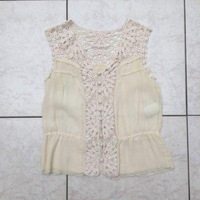 Cynthia rowley浪漫甜美 編織蕾絲拼接雪紡 無袖襯衫