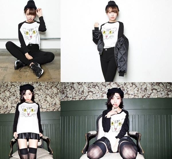 ☆Pink&Angel☆【16320-1】酷酷貓咪印花圖 拼接色袖子 長袖T恤。白色。現
