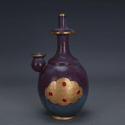 ㊣姥姥的寶藏㊣ 宋代鈞窯玫瑰紫釉包金鑲寶石淨瓶  出土文物古瓷器 古玩古董收藏