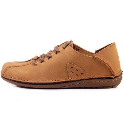 大自然休閒系列 簡約超輕量舒適軟牛皮 MIT手工氣墊皮鞋 黃色