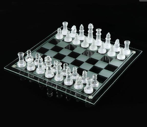 【易發生活館】新品熱銷 精美玻璃國際象棋水晶 大號35*35CM玻璃棋盤+棋子 送禮佳品