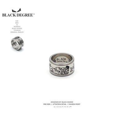黑度原創 / Erotic Ring 日式復古春畫古典梅花鈦鋼男女寬戒指環