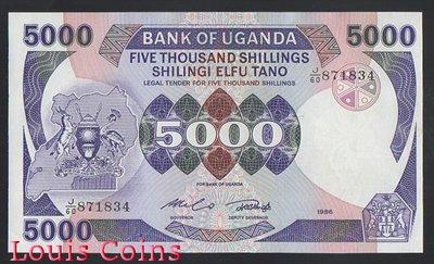 【Louis Coins】B653-UGANDA --1986烏干達紙幣5.000 Shillings