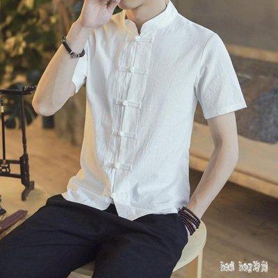大碼唐裝夏季中國風亞麻青年盤扣短袖上衣中式棉麻開衫復古男裝潮 QG22823