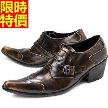 尖頭鞋 真皮皮鞋-復古擦色時尚商務增高男鞋子2色65ai21[獨家進口][米蘭精品]