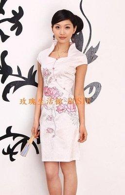 【玫瑰生活館】 粉荷~改良式小包袖旗袍~ (頂級提花棉), S~2XL