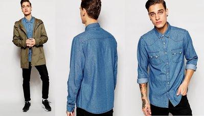 ◎美國代買◎ASOS雙扣有蓋口袋裝飾設計經典百搭純棉牛仔長袖襯衫~歐美街風~大尺碼