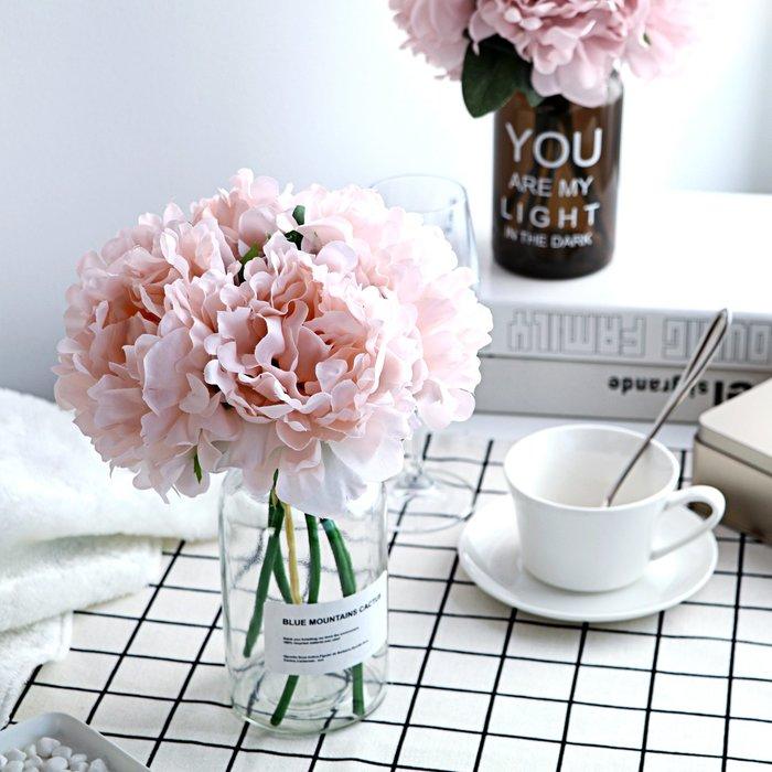 假花瓶 假花 仿真花 花器 花盆 玻璃 年花風北歐客廳透明花瓶假花玻璃花器擺件餐桌花藝仿真花套裝創意