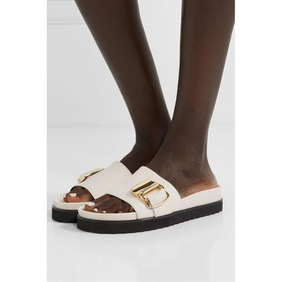 [SALE]TIBI 女白色帶綴飾皮革外穿拖涼鞋NAP/NET-A-PORTER悠悠