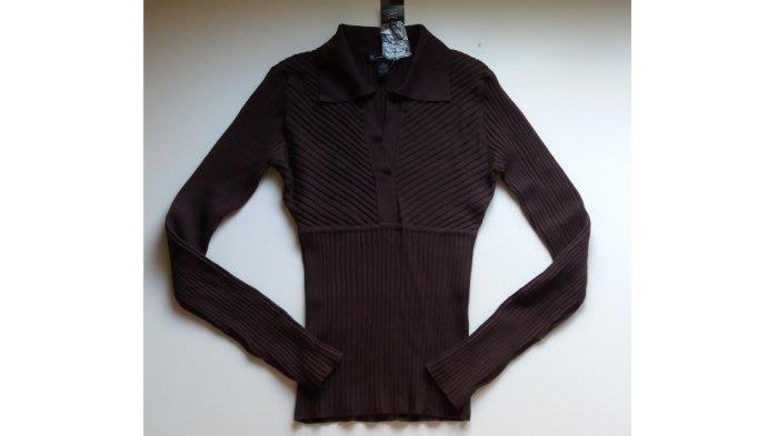 全新美國INC咖啡色襯衫領設計73%絲質長袖編織立體條紋針織衫Salvatore Ferragamo 山本耀司 川久保玲