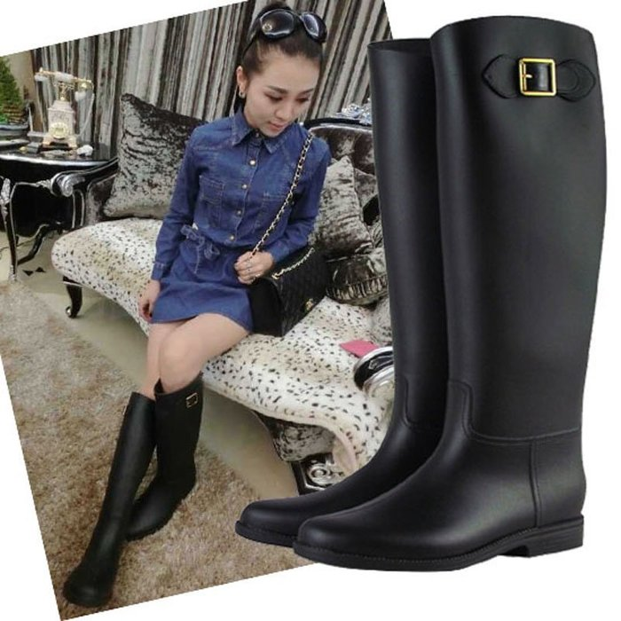999韓版時尚長筒雨鞋女式馬靴高幫雨靴磨砂水鞋平跟膠鞋套鞋顯瘦YC0310