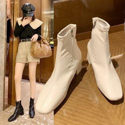 SAS 韓版方頭低跟裸靴 側拉鏈 女靴...