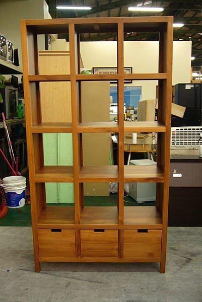 樂居二手家具 全新中古傢俱賣場 P850原木柚木12格3抽屜書櫃 書架 藝品展示櫃 酒櫃 高低櫃 二手沙發4折