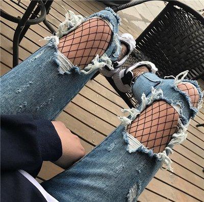 夏天家2018春裝新款女士 高腰破洞水洗牛仔褲褲腳流蘇九分褲子