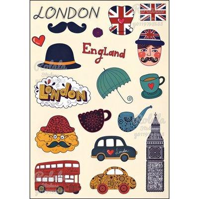 【B026】霧面整版PVC防水貼紙 可愛倫敦貼紙 Q版英國貼紙 手繪風鬍子巴士汽車貼紙《同價位買4送1》ROLALA